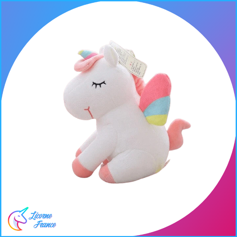 Peluche Licorne Blanche Endormie Assise - Licorne France