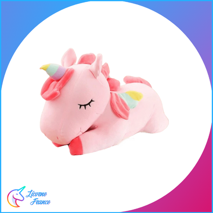 Peluche Licorne Rose Endormie Allongée - Licorne France