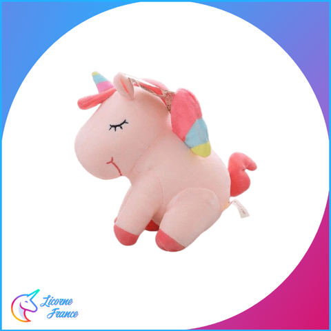 Peluche Licorne Rose Endormie Assise - Licorne France