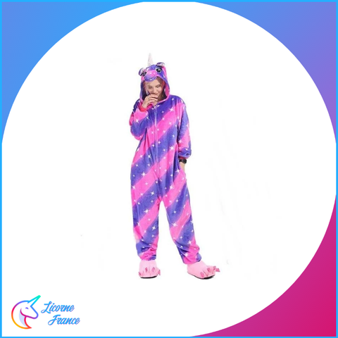 Pyjama Licorne Adulte Rayure Flashy - Licorne France