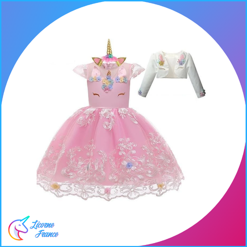 Robe Licorne Dentelle Rose - Licorne France