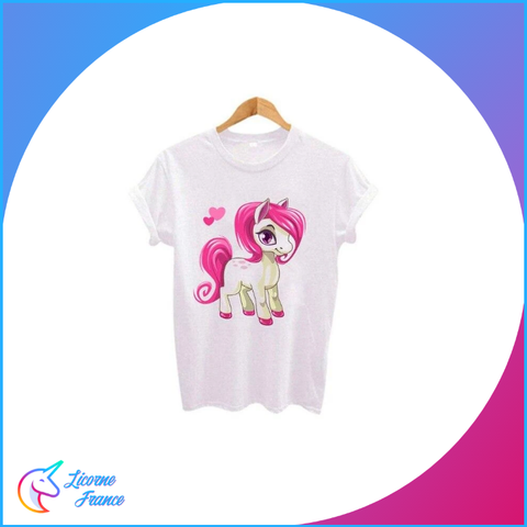 T-shirt Licorne Blanc Poney