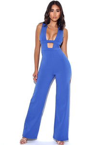 Bossy Deep V Cut Out Stretch Crepe Jumpsuit