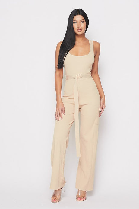 Taupe Ribbed Jumpsuit