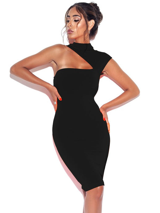 Only One Black Asymmetric Neck Cutout Dress