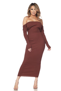 Evie Off the Shoulder Body con Ribbed Dress