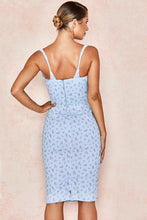 Load image into Gallery viewer, 'Bellina' Blue Floral Corset Midi Dress