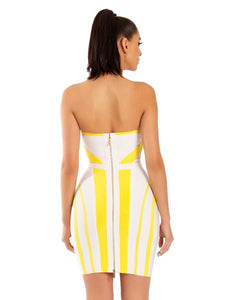 Fiona Yellow Strapless Dress