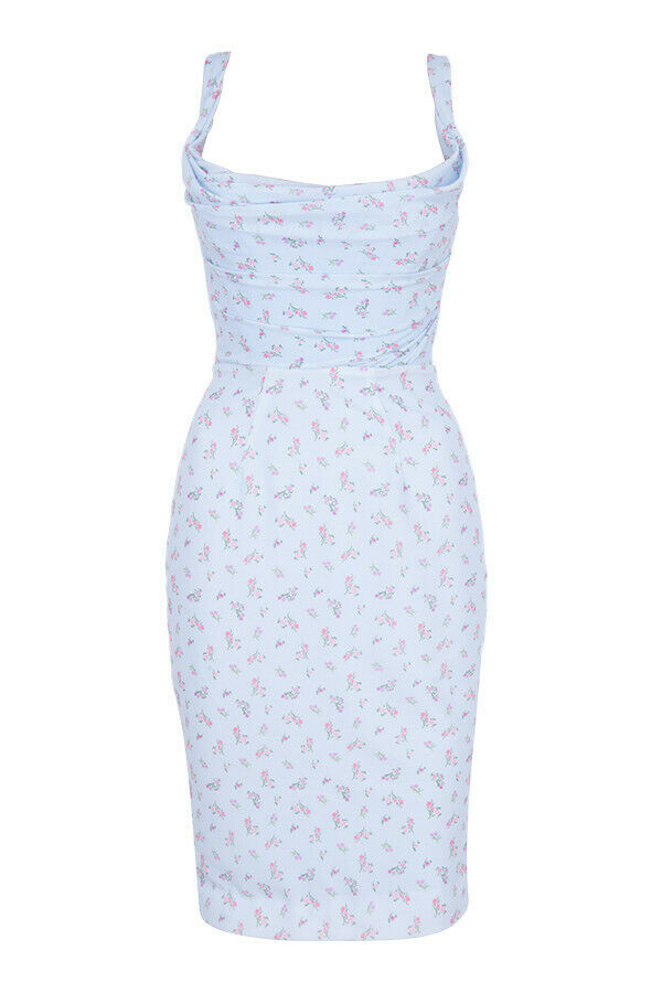 'Bellina' Blue Floral Corset Midi Dress