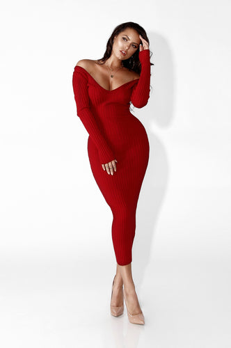 Camille Ribbed Bodycon Long Sleeve Dress