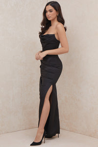 HOUSE OF CB 'Adrienne' Sage Satin Strapless Gown /Size L-US 8-10