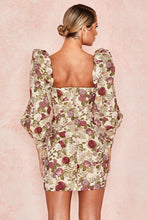 Load image into Gallery viewer, 'Azie' Vintage Floral Jacquard Puff Sleeve Dress