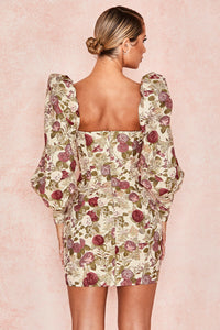 'Azie' Vintage Floral Jacquard Puff Sleeve Dress
