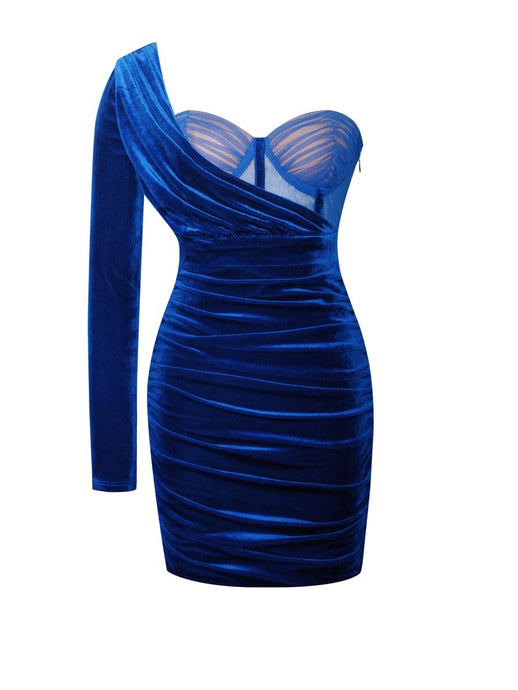 Enchanted Blue Velvet One Sleeve Dress