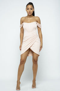 Harmony Blush Pink Draped Boned Mini Dress