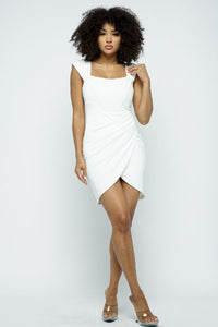 Harmony White Draped Boned Mini Dress