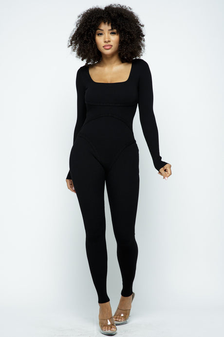 Black Long Sleeve Stitch Ribbed Jumpsuit