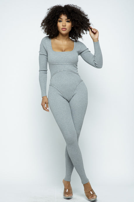 Grey Long Sleeve Stitch Ribbed Jumpsuit