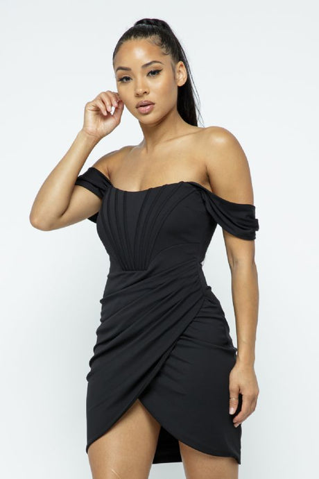 Harmony Black Draped Boned Mini Dress