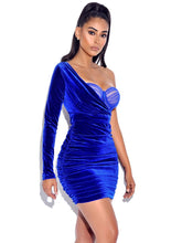 Load image into Gallery viewer, Enchanted Blue Velvet One Sleeve Dress
