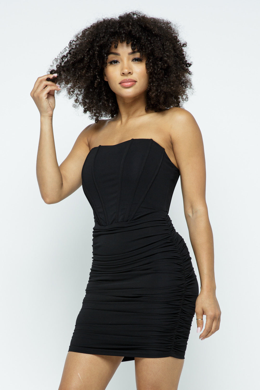 Chasity Black Strapless Boned Mini Dress