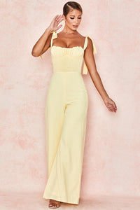 HOUSE OF CB 'ROMMI' LEMON LINEN MIX SHIRRED JUMPSUIT/ Size Small