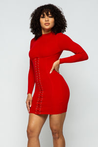 Snatched Corset Long Sleeve Dress