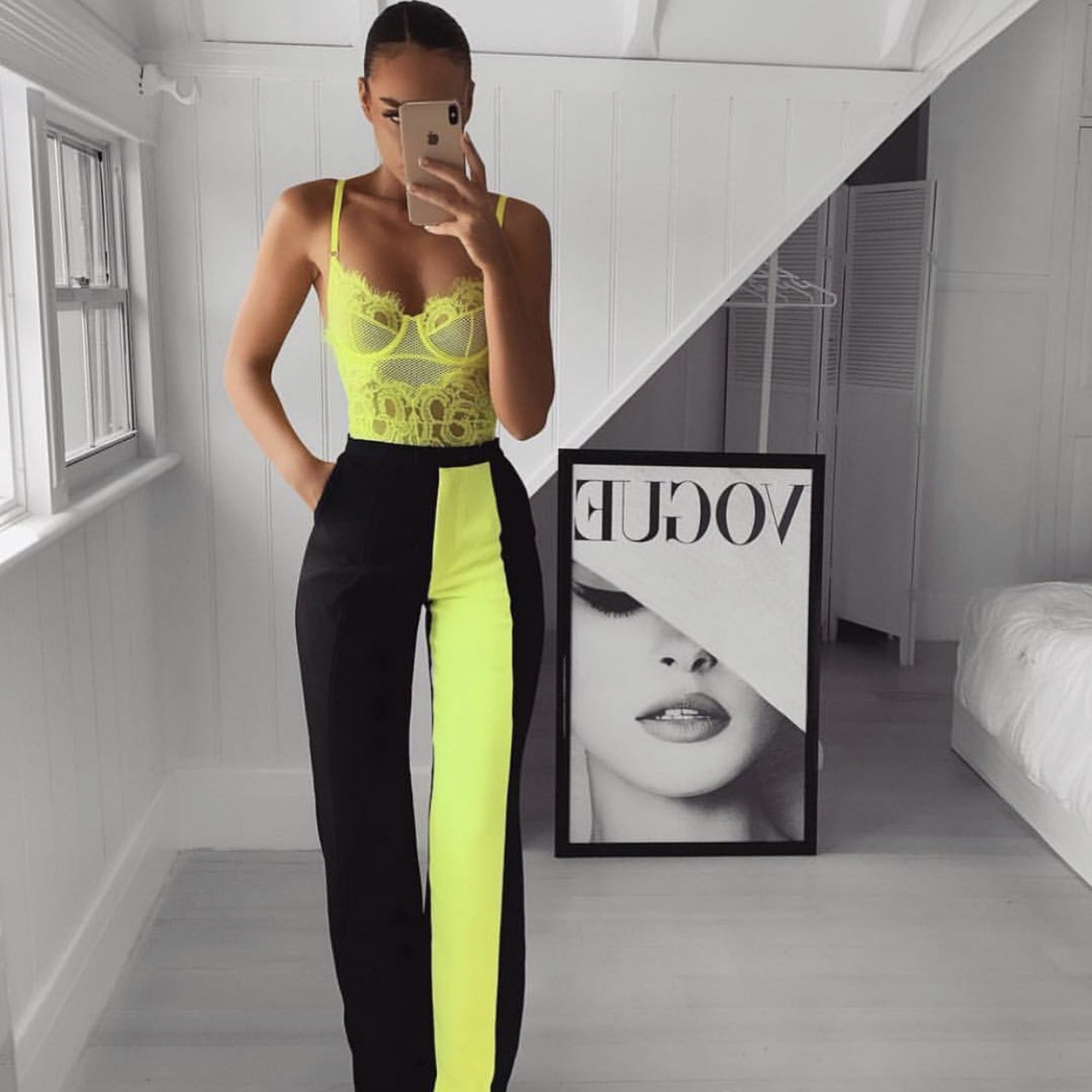 House of CB 'Ivey' Neon Yellow Colour Block Trousers /Size XS