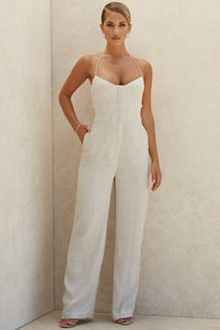 'Sancia' Oatmeal Linen Mix Jumpsuit