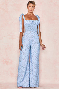 HOUSE OF CB 'Lana' Blue Floral Shirred Jumpsuit /Size XS-US 2-4