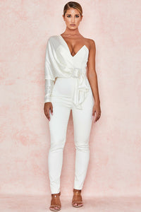 'Willow' Ivory Satin Jumpsuit