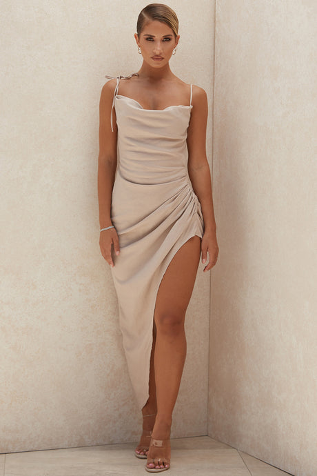 HOUSE OF CB 'Soluna' Sand Thigh Split Draped Maxi Dress /Size M-US 6-8