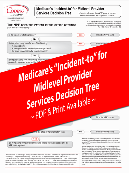 Incident To - Medical Provider Service Decision Tree