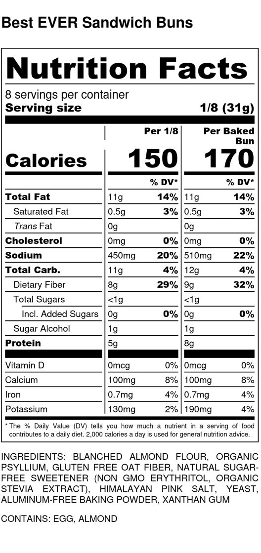 Best EVER Sandwich Buns -  Nutrition Facts and Ingredients