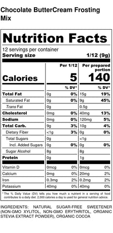 Chocolate Buttercream Frosting - Nutrition Facts and Ingredients