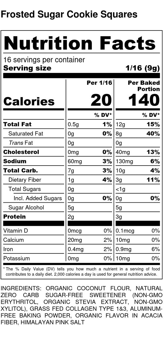 Frosted Sugar Cookie Squares - Nutrition Facts and Ingredients