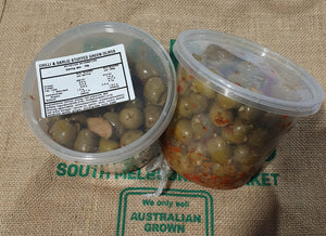 Olives- Green Marinated Chilli and GARLIC LARGE TUB SPECIAL 500G