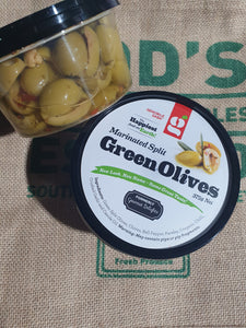 Green Marinated Split green olives 375g