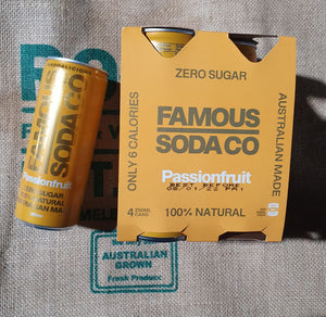 Famous Pink Soda  Passionfruit 4 pack cans 240ml