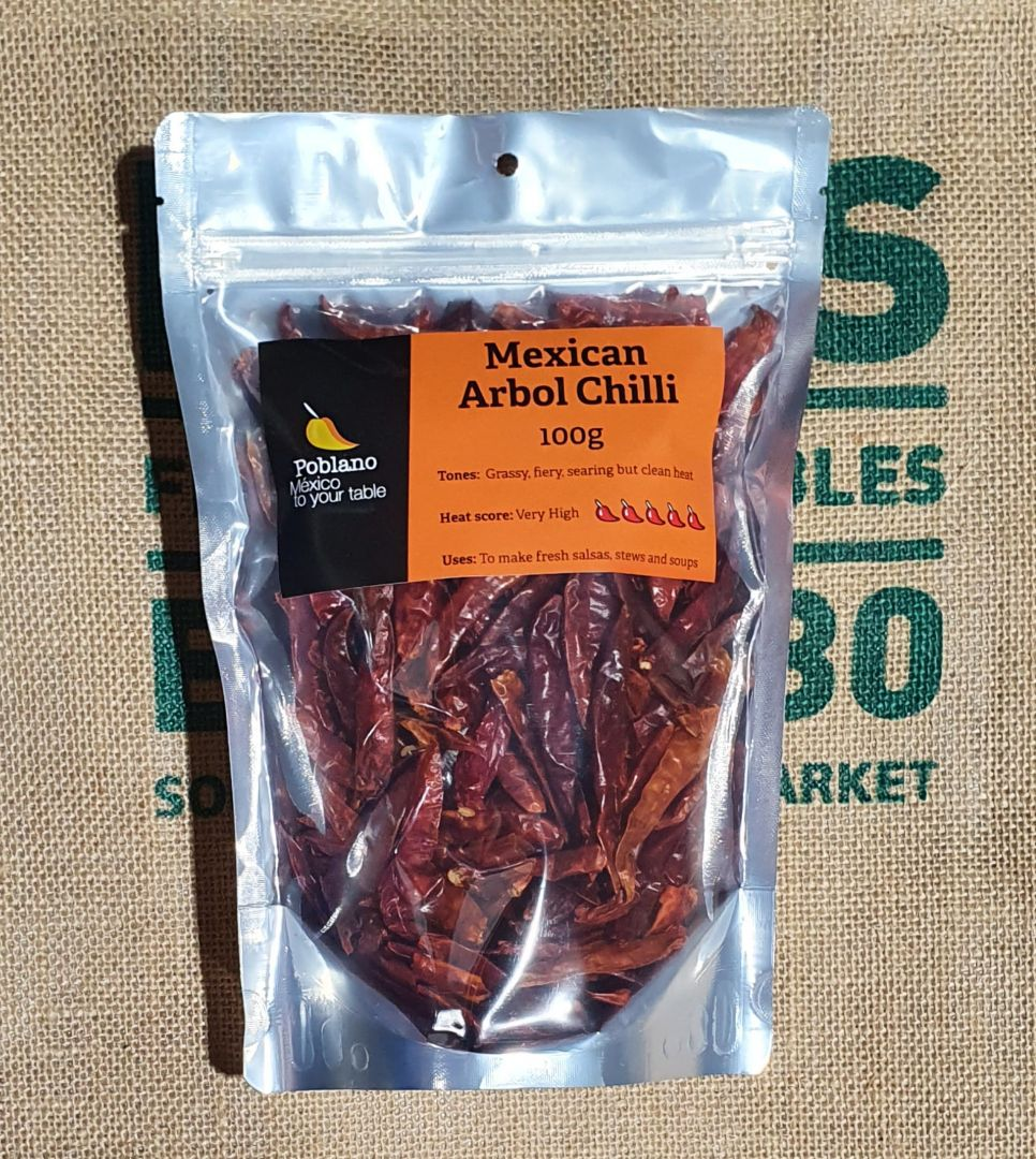 Mexican Arbol Hot Chillies 100g pack