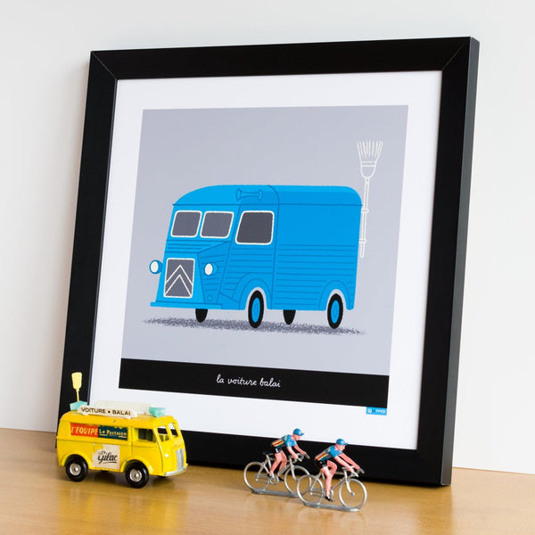 Broom Wagon cycling print in blue. 30 x 30 cm.
