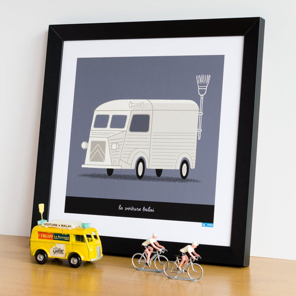 Broom Wagon cycling poster in cream. 30 x 30 cm.