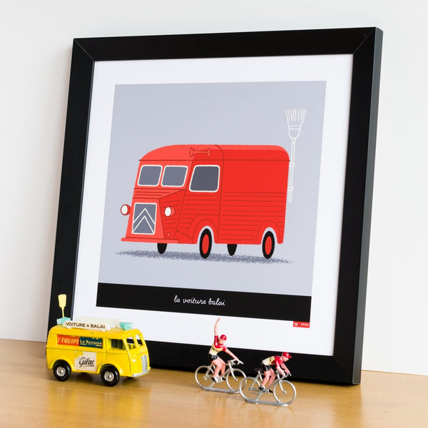 Broom Wagon cycling print in red. 30 x 30 cm.