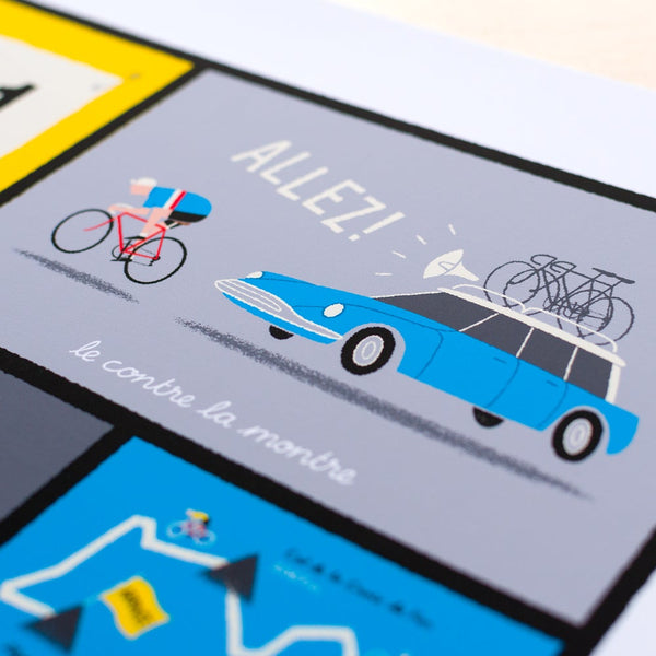 Close up detail of french cycling terms poster.