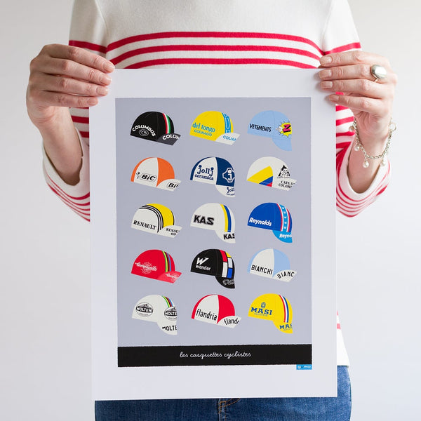 Light grey 'Casquettes' cycling caps art poster, unframed, 30 x 40 cm.