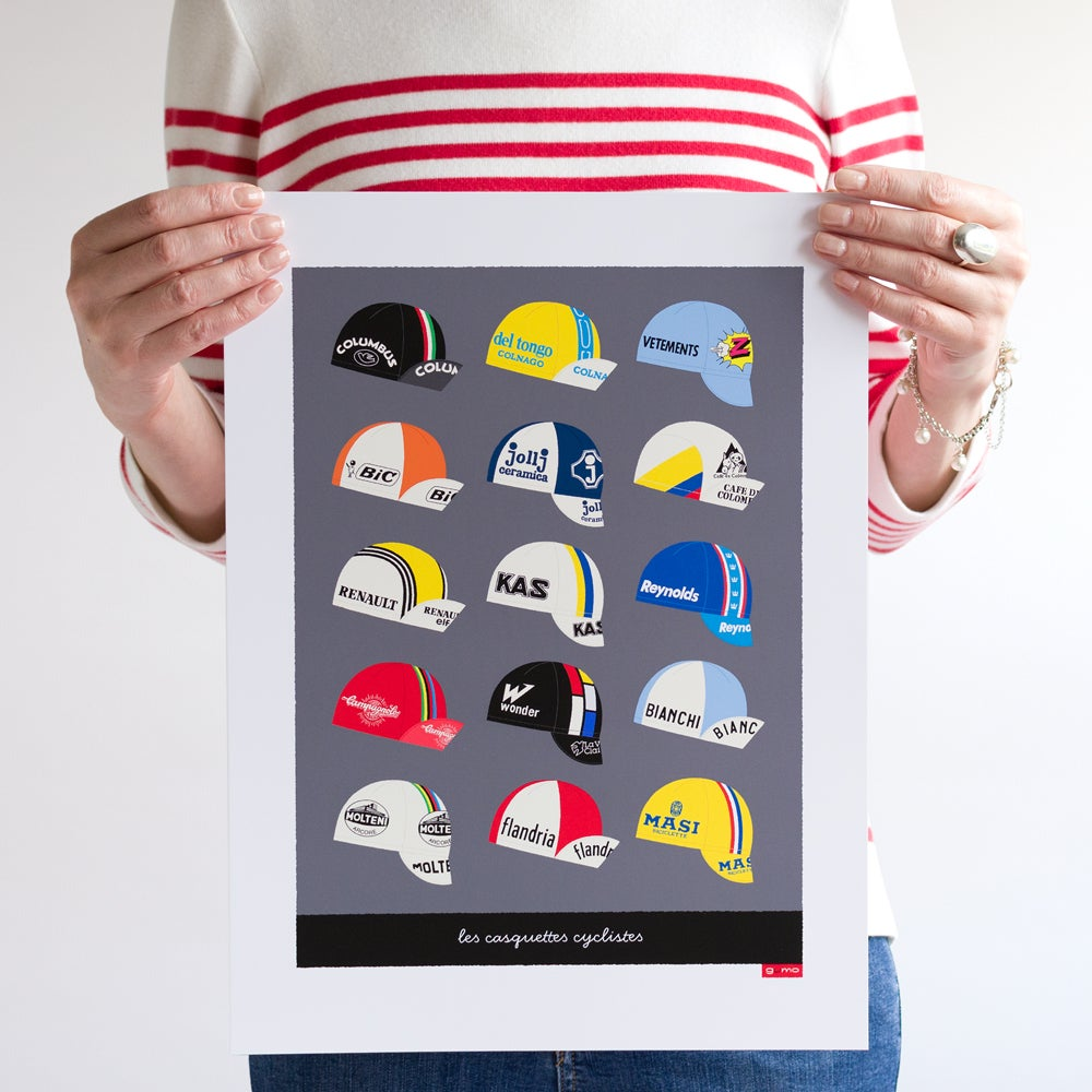 Dark grey 'Casquettes' cycling caps art poster, unframed, 30 x 40 cm.