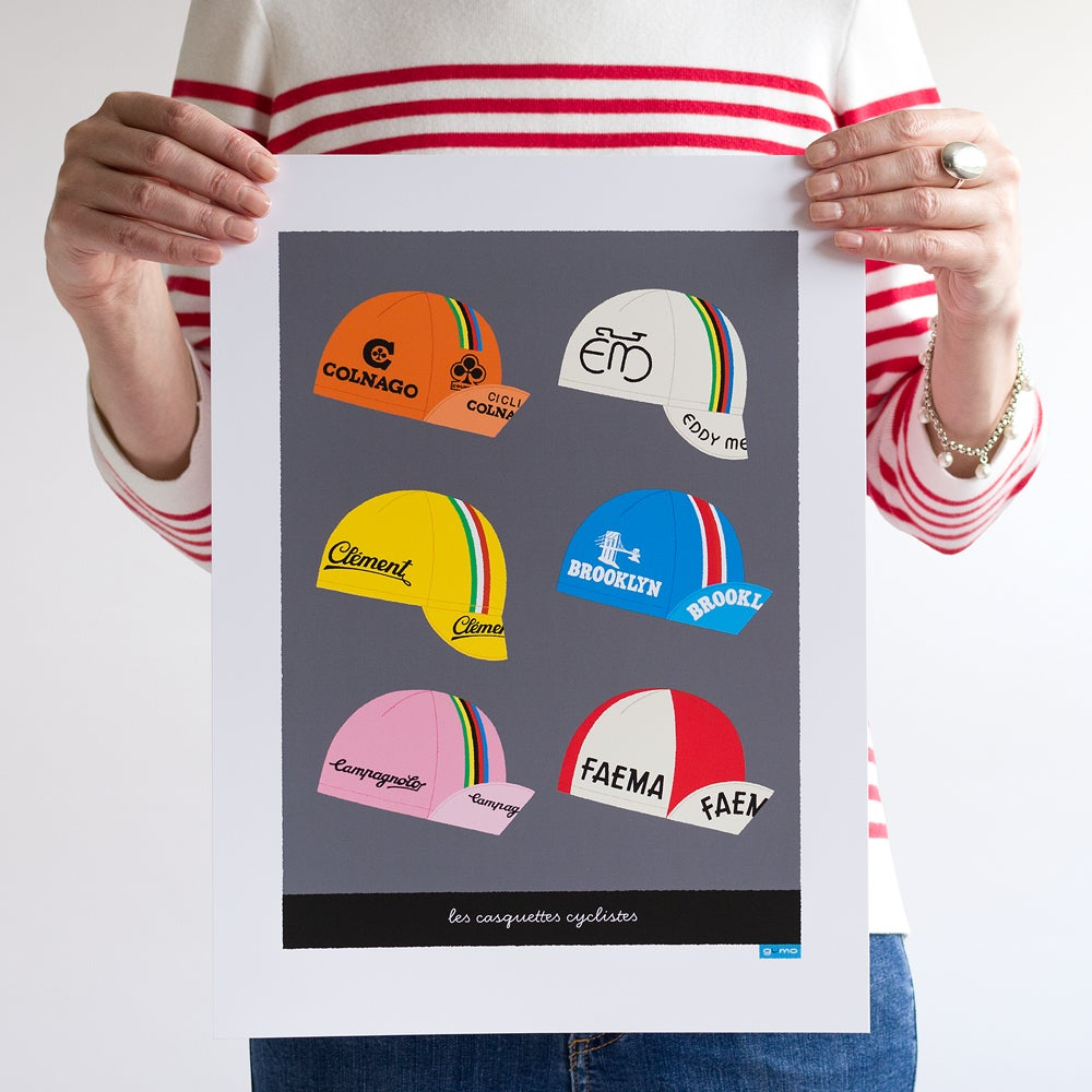 Art poster featuring six classic cycling caps, dark grey background, 30 x 40 cm