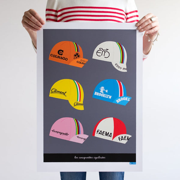 Art Print featuring six vintage cycling caps design. Dark grey background. Size: A2.