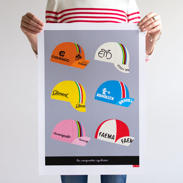 Art Print featuring six retro cycling caps. Light grey background. A2.