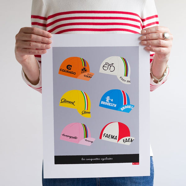 Poster featuring six classic cycling caps, light grey background.